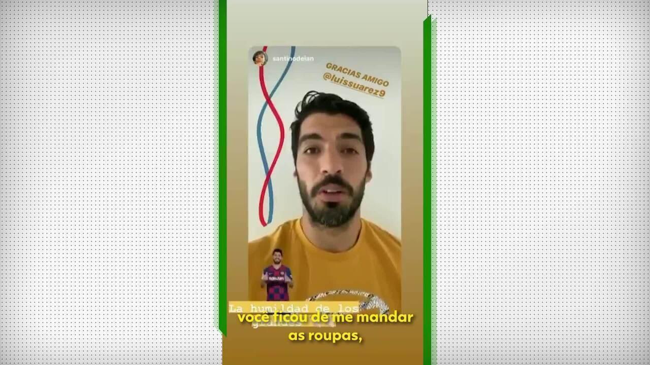 """Filho de Montillo """"oferece camisas"""" a Messi, Piqué e Suárez, e uruguaio responde"""