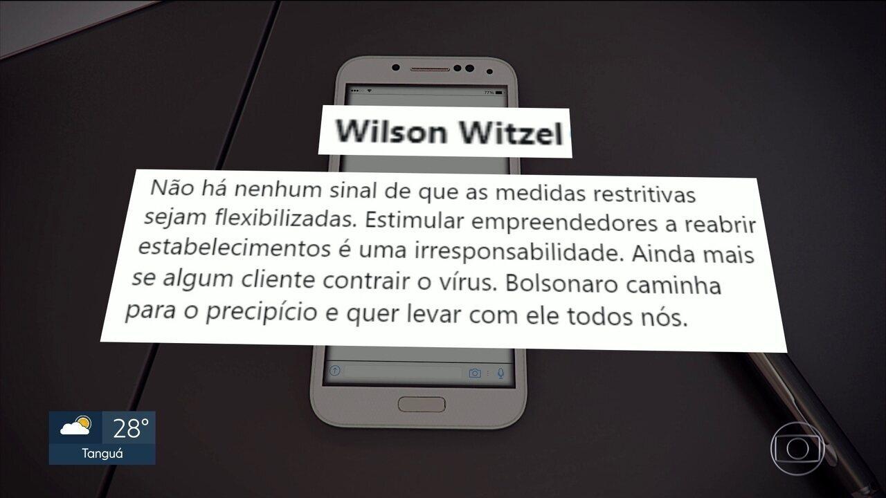 Wilson Witzel critica decisão de Bolsonaro de reabrir alguns estabelecimentos