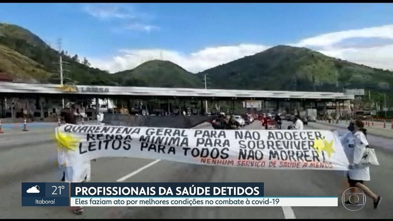 Profissionais da saúde são detidos durante protesto na Linha Amarela