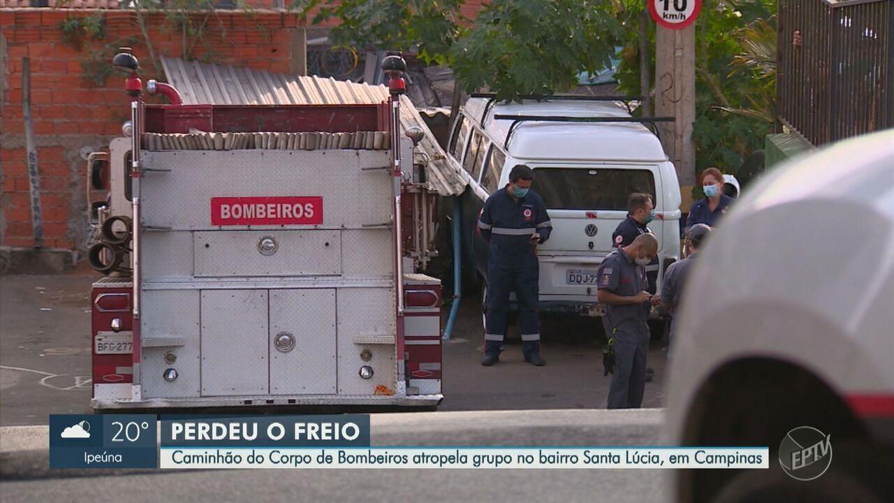 Viatura dos Bombeiros atropela pedestres durante ocorrência de incêndio em Campinas