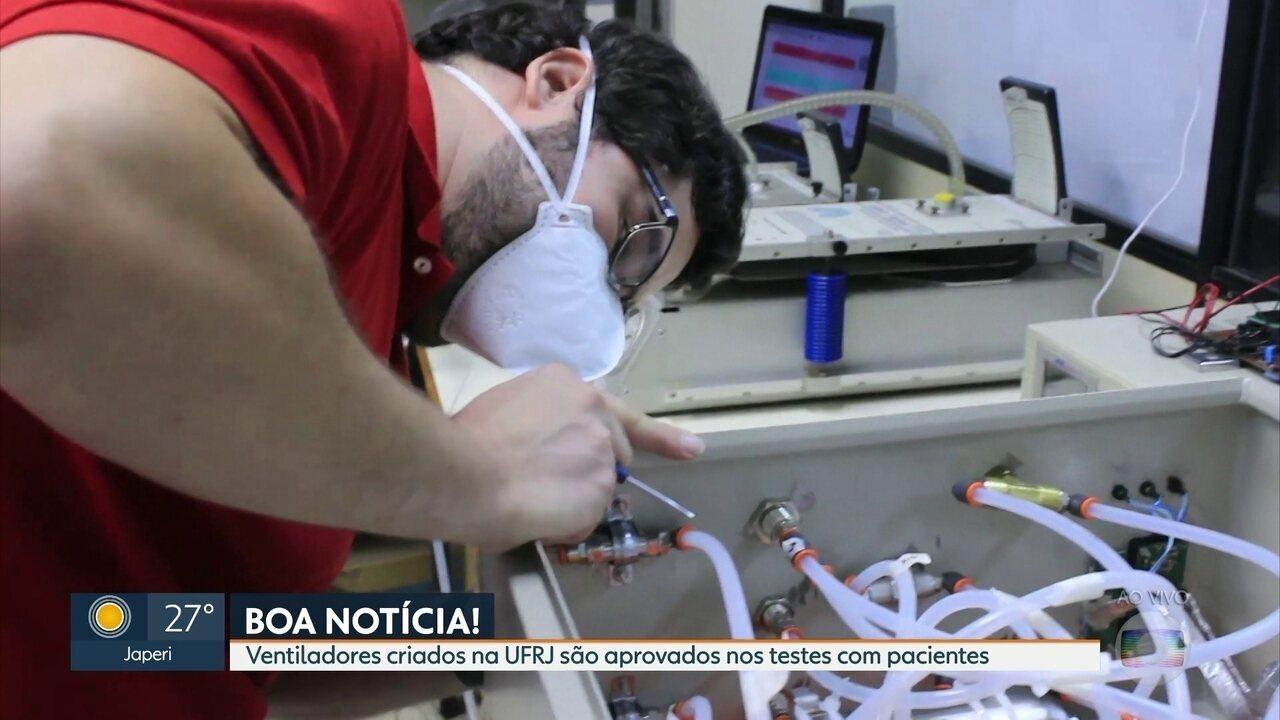 Ventiladores criados na UFRJ são aprovados nos testes com pacientes com Covid-19