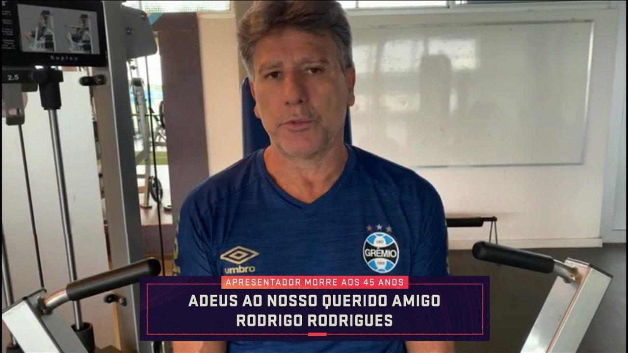 Renato Gaúcho grava vídeo em homenagem a Rodrigo Rodrigues