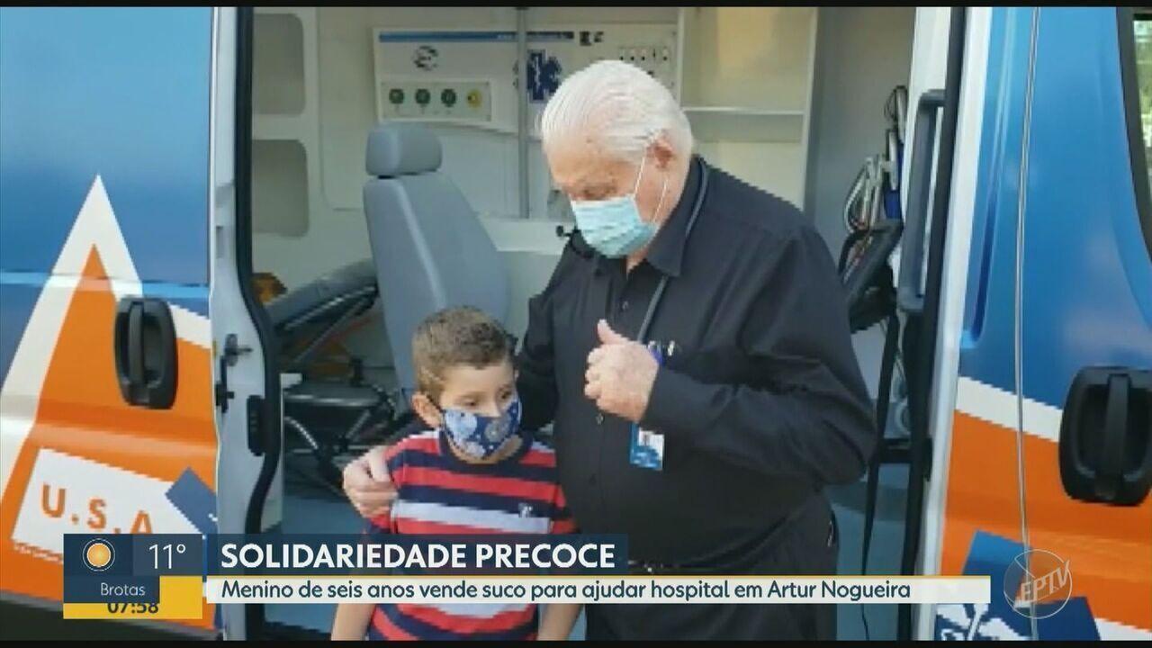 Coronavírus: menino de 6 anos vende sucos para ajudar hospital em Artur Nogueira