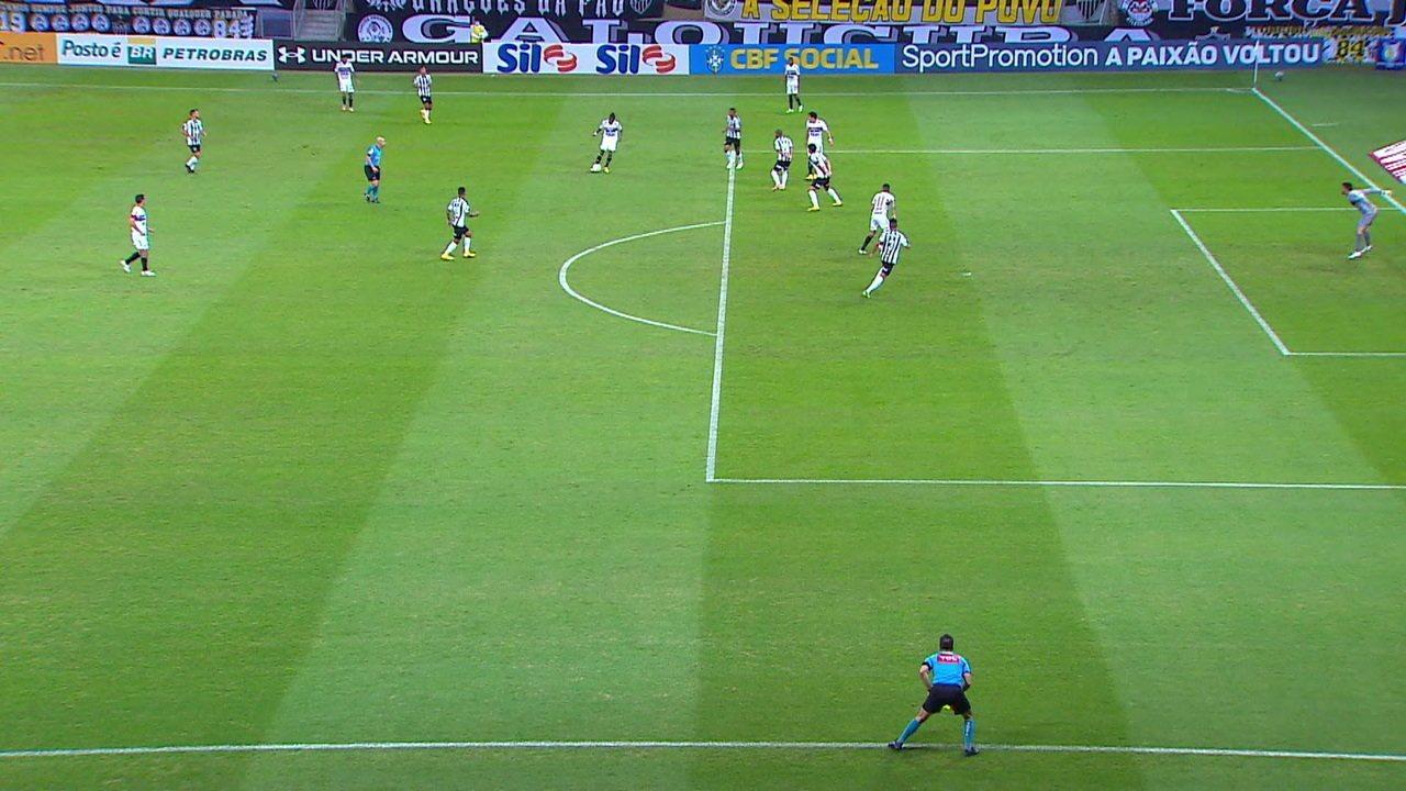 Gol anulado do São Paulo. Luciano desvia pro gol, mas estava impedido, aos 28 do 1º tempo