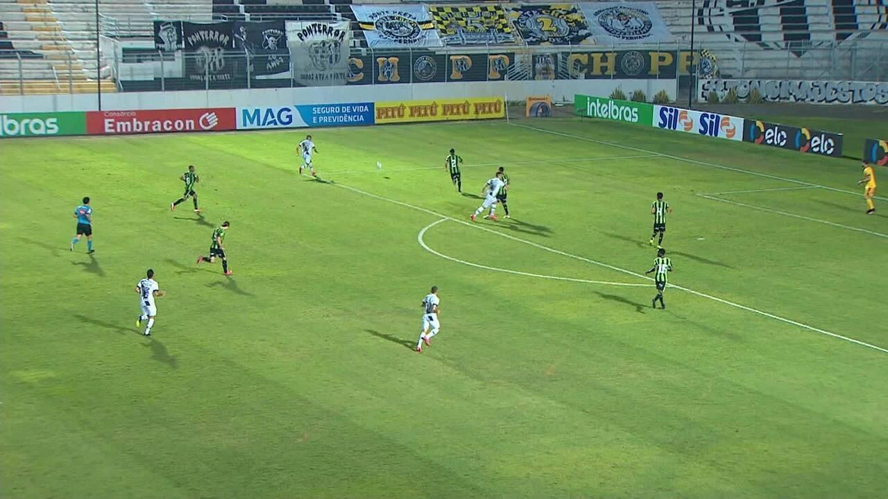Gol da Ponte! Bruno Rodrigues cruza e Matheus Peixoto escora para o gol, aos 29 min do 2T