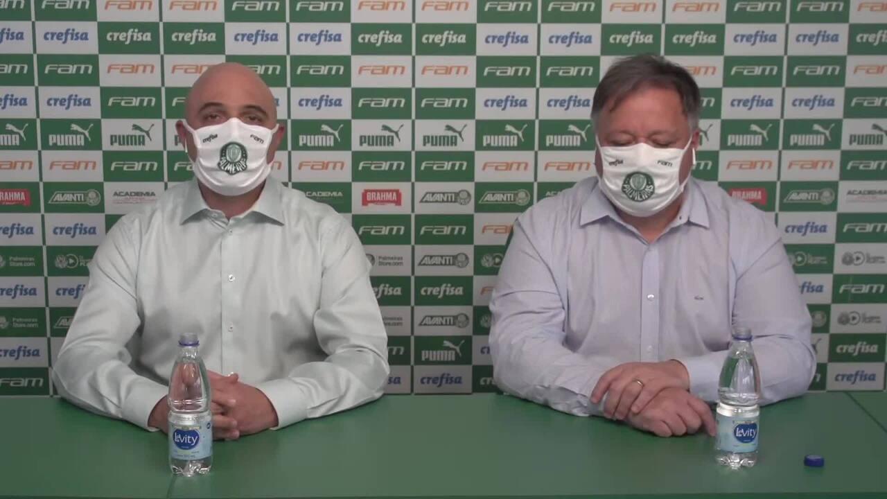 Confira coletiva do Palmeiras, com Mauricio Galiotte e Anderson Barros