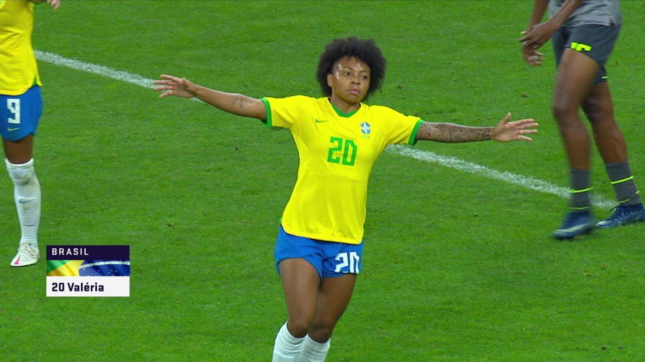 Gol do Brasil! Duda cruza, e Valéria marca, aos 33 do 2ºT