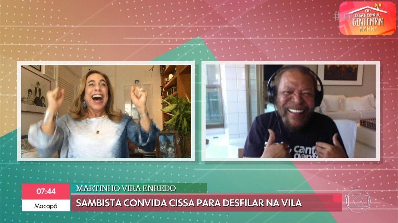 Martinho da Vila convida Cissa Guimarães para desfilar na Vila Isabel