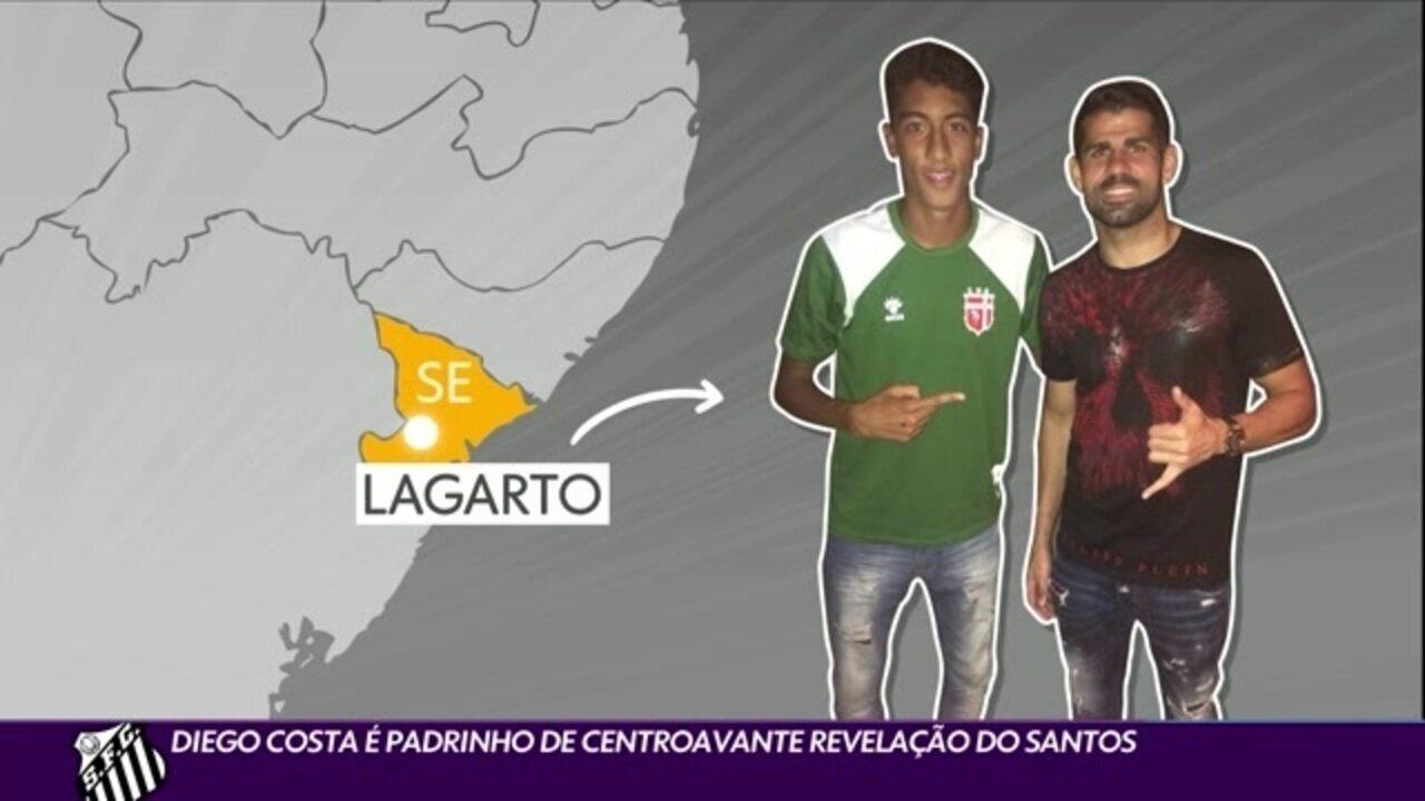 Diego Costa é padrinho de Bruno Marques, revelação do Santos