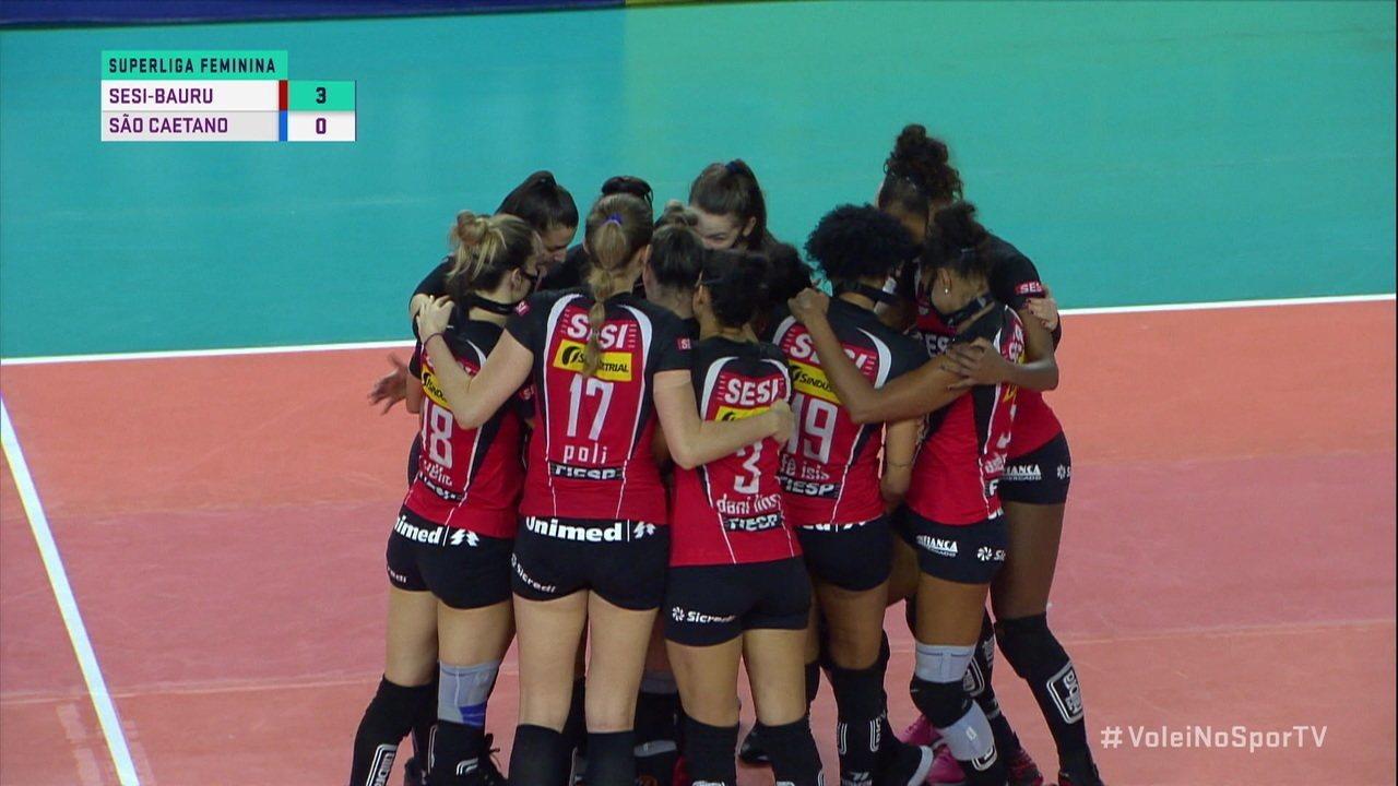 Melhores momentos: Sesi-Bauru 3 x 0 São Caetano, pela Superliga Feminina de Vôlei