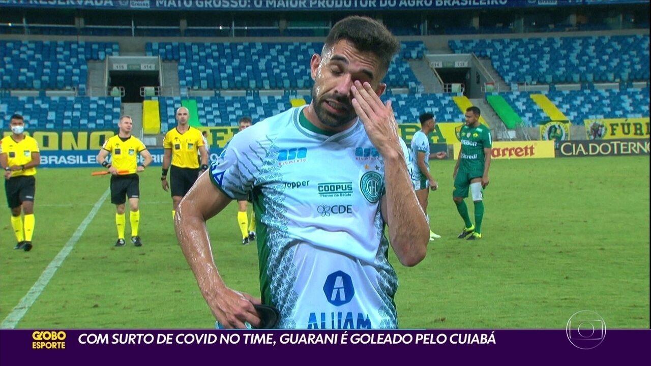 Com surto de Covid-19 no time, Guarani é goleado pelo Cuiabá
