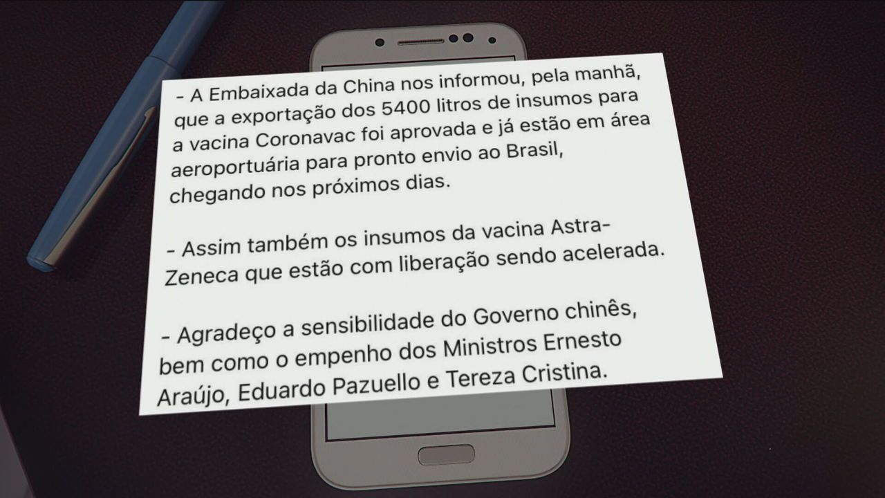 Bolsonaro diz que China liberou vinda de insumos para o Brasil