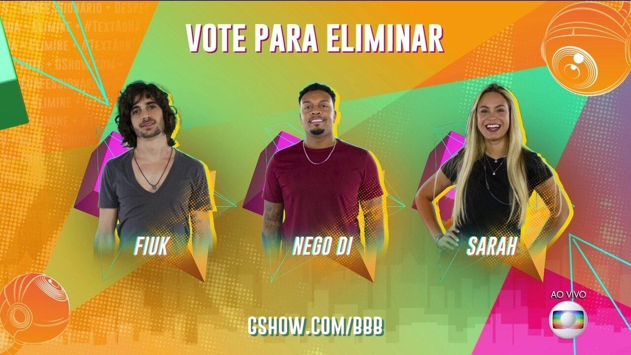 Paredão BBB21: Vote para eliminar. Fiuk, Nego Di ou Sarah?