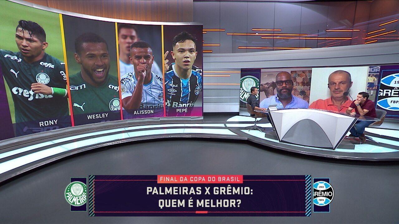 """""""Quem é melhor?"""": comentaristas elegem jogadores de Grêmio e Palmeiras por posição"""