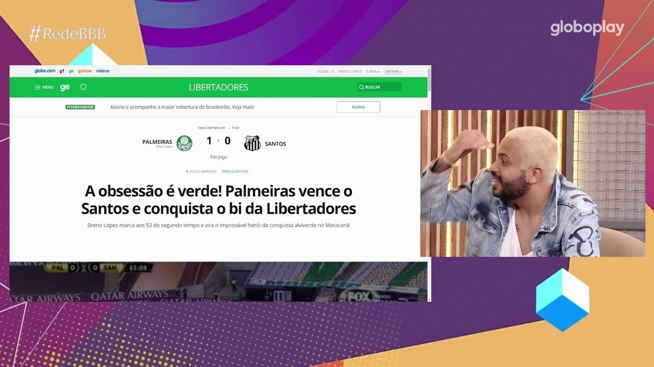 No Bate-Papo BBB, Projota lamenta derrota do Santos para o Palmeiras