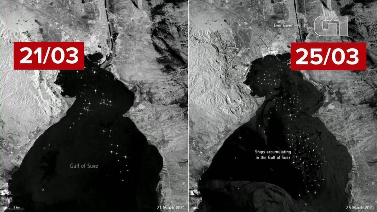 VÍDEO: trânsito marítimo causado por navio encalhado pode ser visto até do espaço