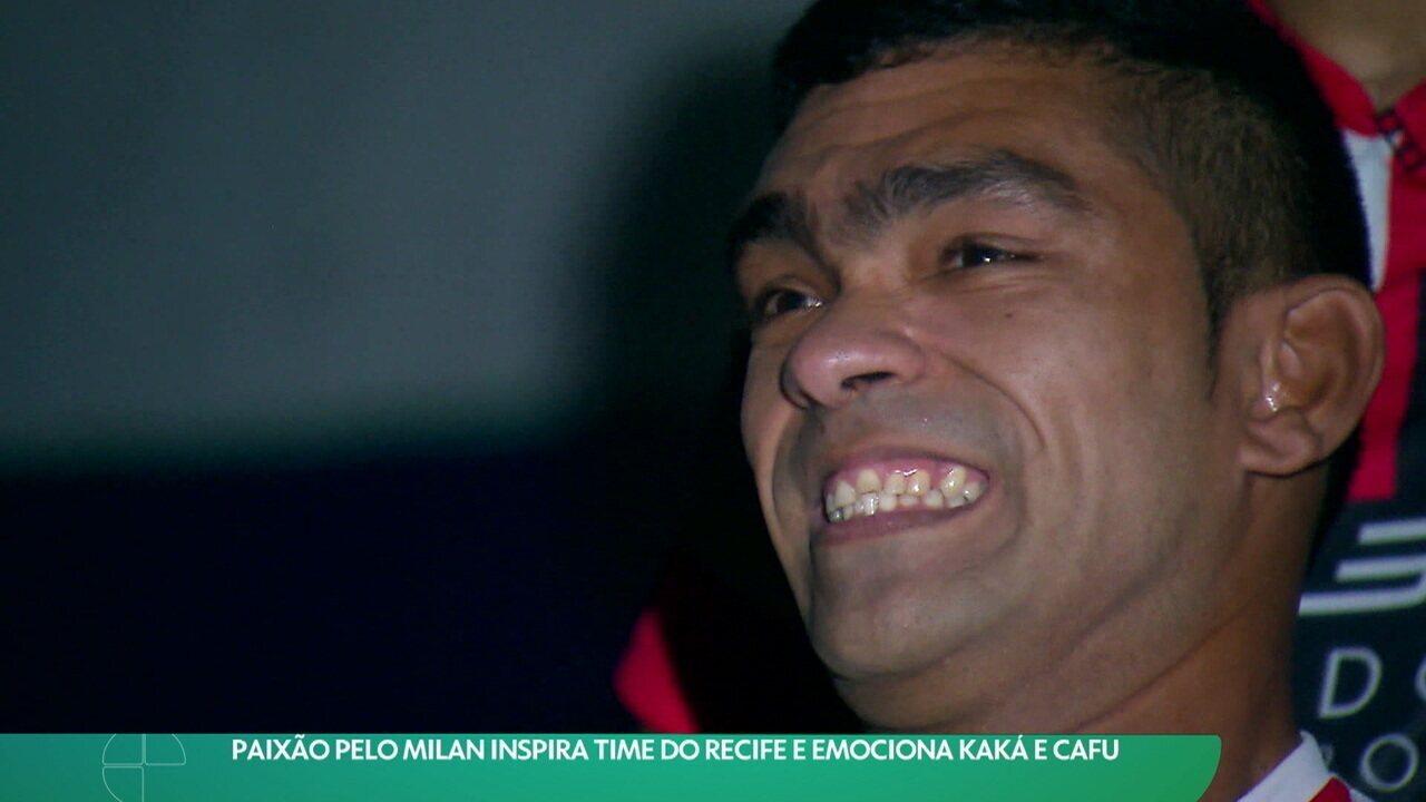 Paixão pelo Milan inspira time do Recife e emociona Kaká e Cafu
