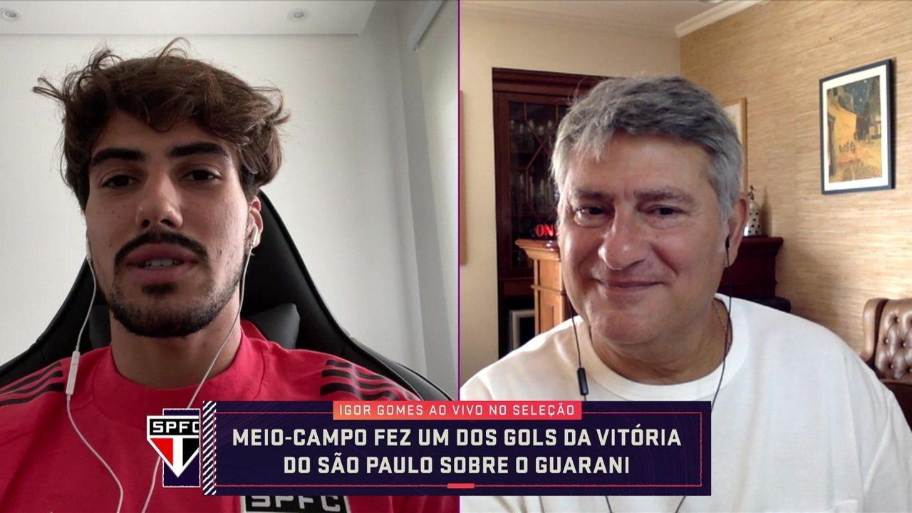 Igor Gomes fala sobre posicionamento e gol marcado em vitória do São Paulo sobre o Guarani