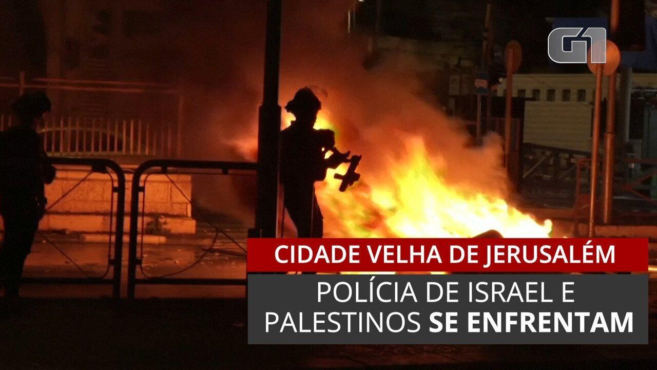 Polícia de Israel e Palestinos se enfrentam na Cidade Velha de Jerusalém