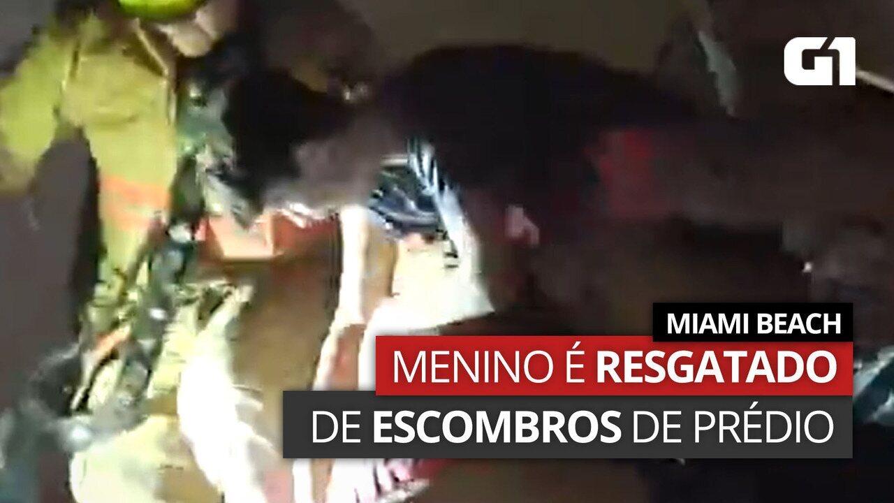 VÍDEO: Menino é resgatado de escombros de prédio em Miami Beach