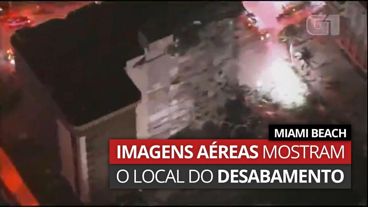VÍDEO: Imagens aéreas mostram local do desabamento em Miami Beach