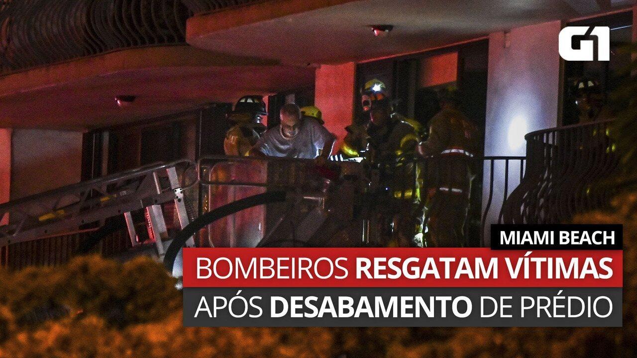 VÍDEO: Bombeiros resgatam vítimas de desmoronamento de prédio em Miami Beach