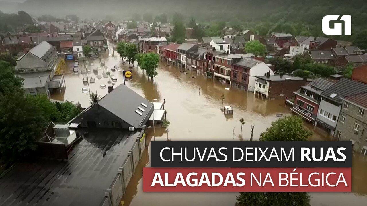 VÍDEO: Drones mostram ruas alagadas na Bélgica