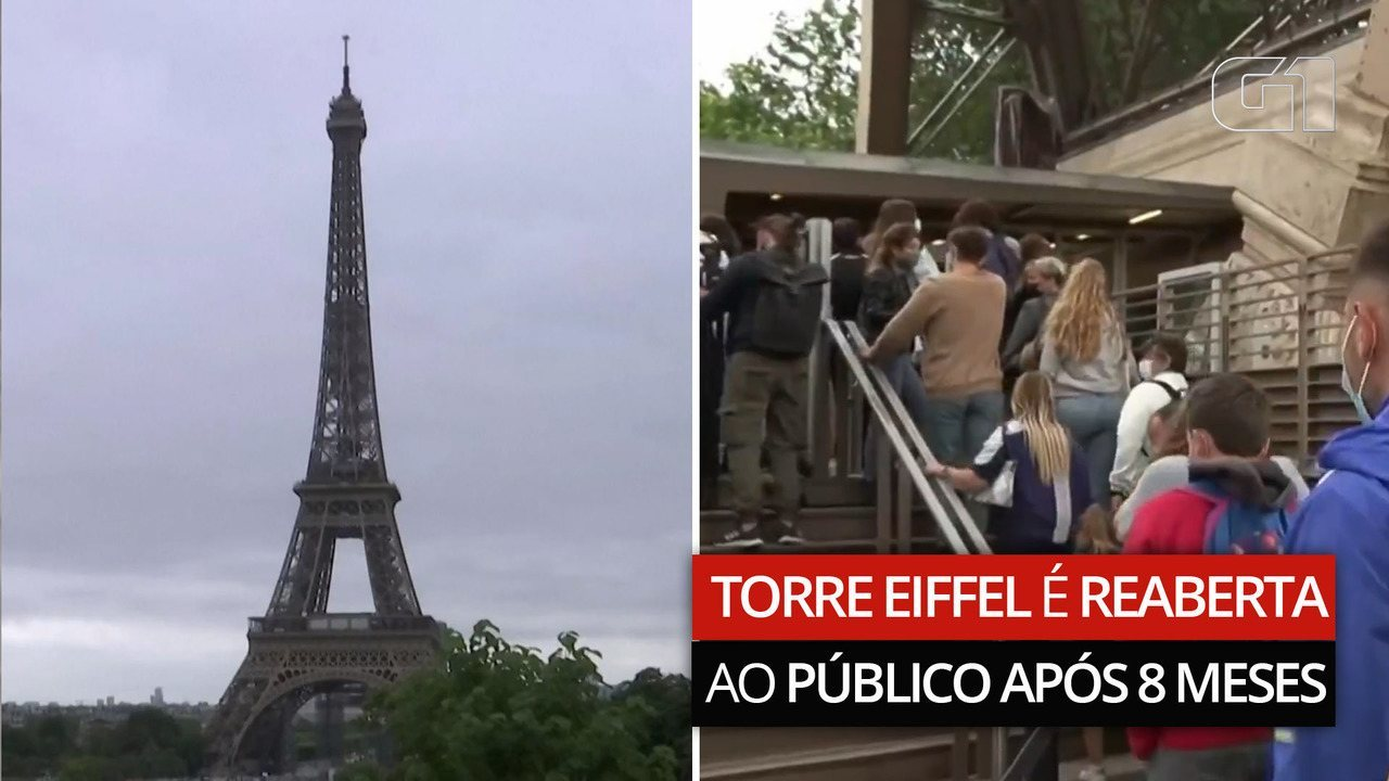 Torre Eiffel reabre ao público após 8 meses fechada devido à pandemia