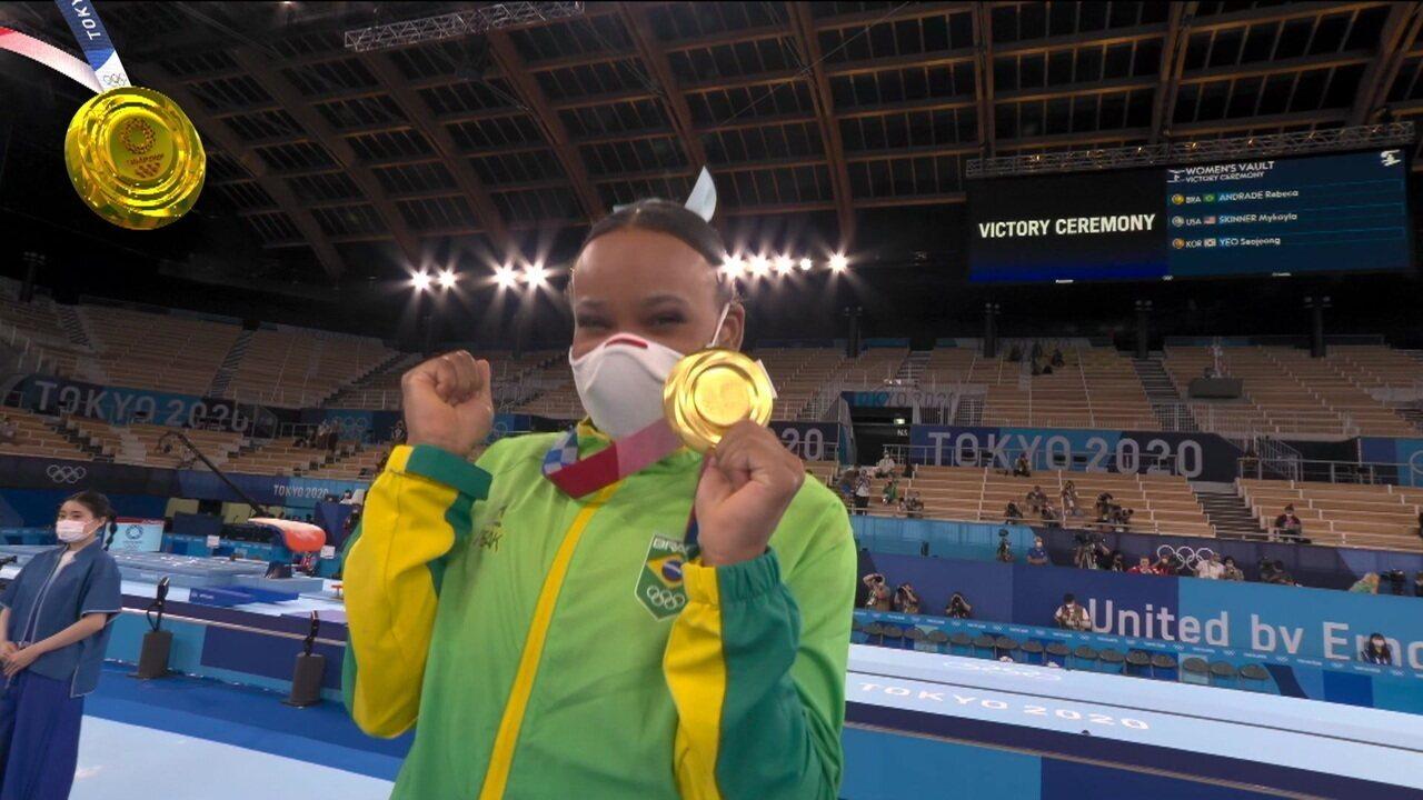 Rebeca Andrade garante o lugar mais alto no pódio do salto da ginástica artística - Olimpíadas de Tóquio