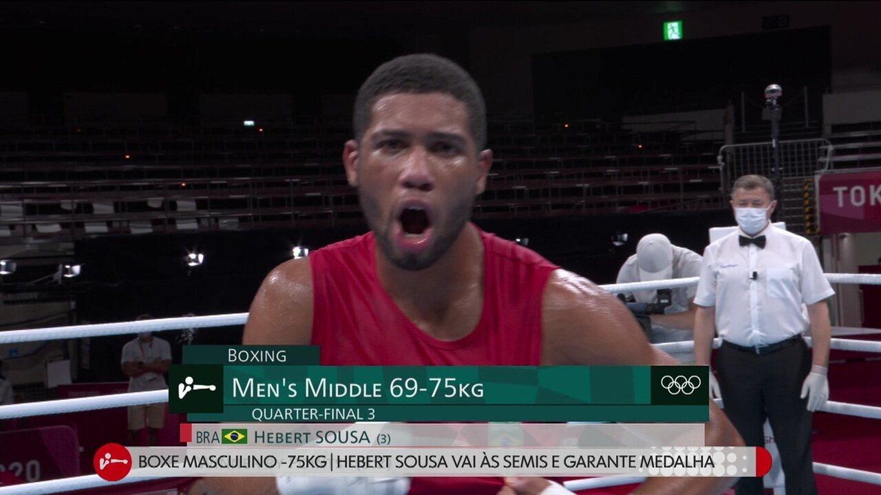 Herbert Conceição vibra após vencer luta e garantir medalha - Olimpíadas de Tóquio
