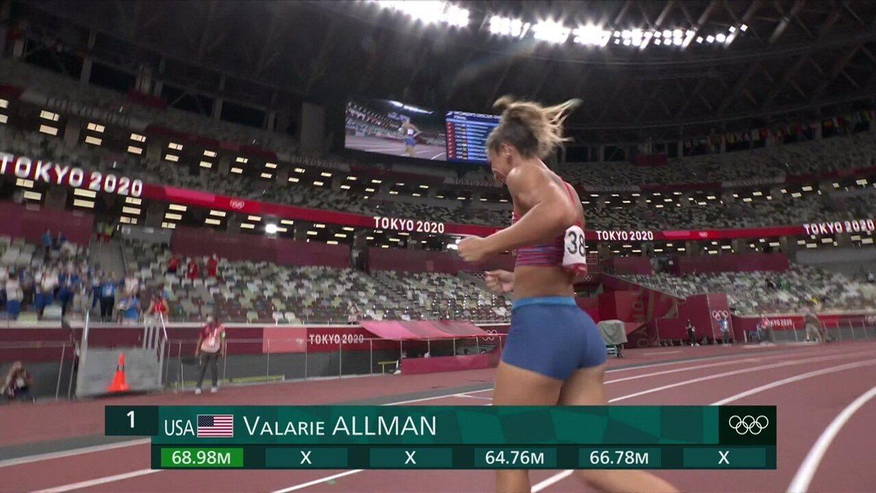 Com 68.98m, Valarie Allman (EUA) é ouro no lançamento de disco - Olimpíadas de Tóquio