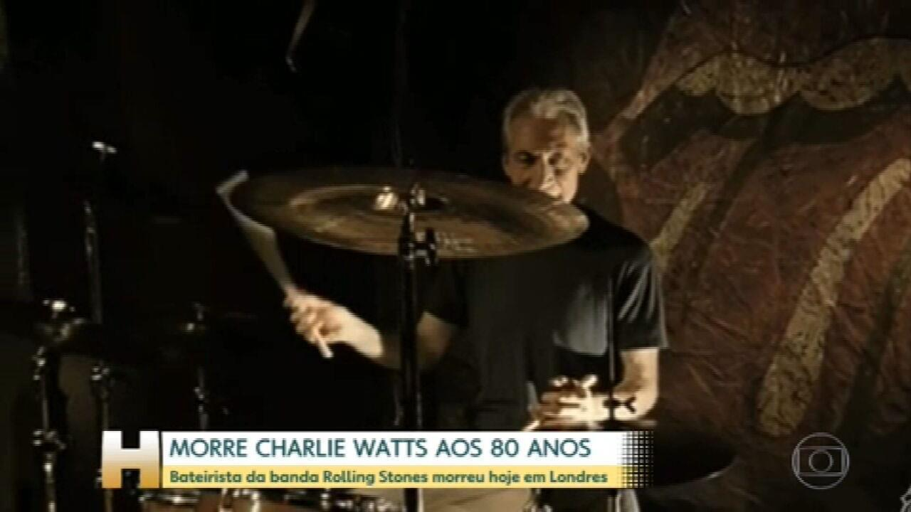 Charlie Watts, baterista do Rolling Stones, morre aos 80 anos